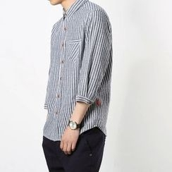 Mr. Only - Pinstriped 3/4-Sleeve Shirt