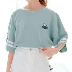 Fairyland - Drop-Shoulder Embroidered T-Shirt