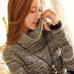 Styleonme - Cowl Neck Mélange Knit Tunic