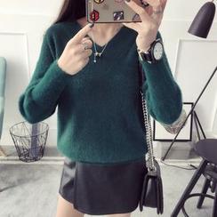 Qimi - Plain V-Neck Sweater