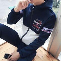 JORZ - Set: Printed Color Panel Hooded Zip Jacket + Plain Jogger Pants