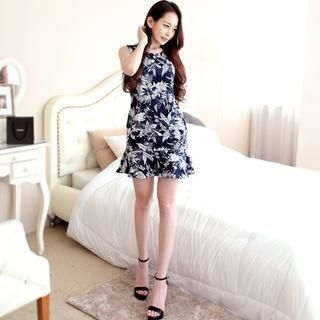 Dalkong - Sleeveless Ruffled-Hem Patterned Dress