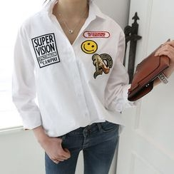 DANI LOVE - Long-Sleeve Patch Shirt