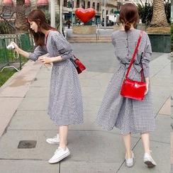 YOSH - Gingham Midi A-Line Dress