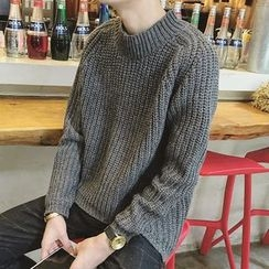 ZZP HOMME - 粗針織小高領毛衣