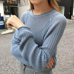 Sinbounboun - Ribbed Knit Sheer Sweater