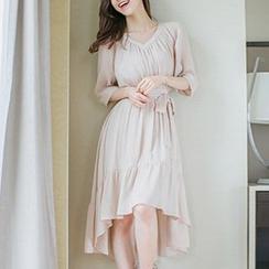 Jolly Club - Elbow-Sleeve Asymmetric-Hem Midi Dress
