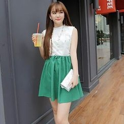 MisSweet - Set: Sleeveless Shirred Top + Pleated Skirt