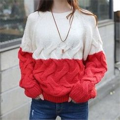 CHICFOX - Color-Block Cable-Knit Sweater