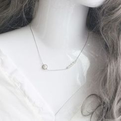 Love Generation - Pearl Rhinestone Sterling Silver Necklace