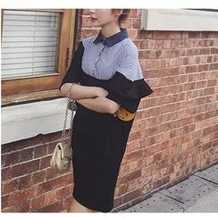 HazyDazy - Stripe Panel Loose Fit Shirtdress