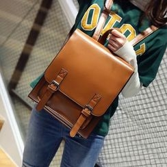 Rabbit Bag - Faux-Leather Buckled Flap Backpack