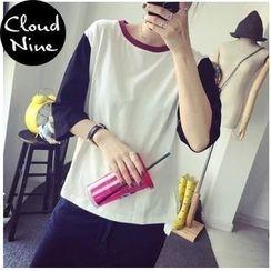 Cloud Nine - Color-Block 3/4-Sleeve T-Shirt
