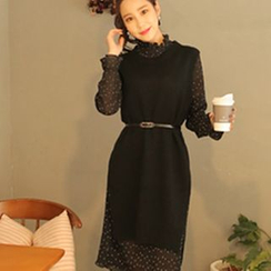 Cherryville - Set: Sleeveless Knit Dress + Dotted Dress with Belt