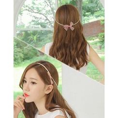 soo n soo - Rhinestone Strap Layered Bow Hair Band