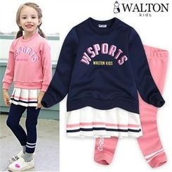 WALTON kids - Kids Set: Pleated-Hem Lettering Top + Banded-Waist Pants