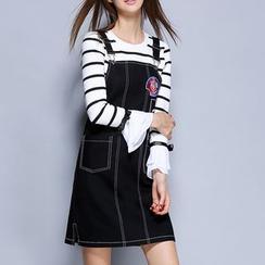 Rosesong - 套裝: 條紋喇叭袖T恤 + 刺繡牛仔布背帶裙