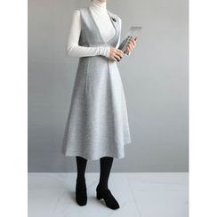STYLEBYYAM - Wool Blend Deep V-Neck Sleeveless A-Line Dress