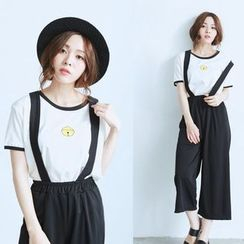 BAIMOMO - Cropped Suspender Pants