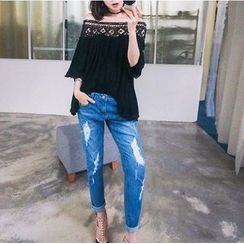 Everose - Off-Shoulder Lace-Panel Top