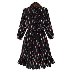 GRACI - Long-Sleeve Print Chiffon Dress