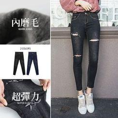 PUFII - Fleece Distressed Skinny Jeans