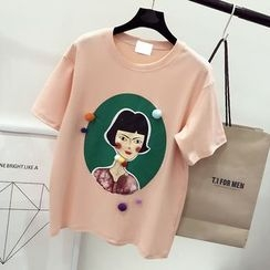 DIYI - Cartoon Print Loose-Fit Short Sleeve T-Shirt