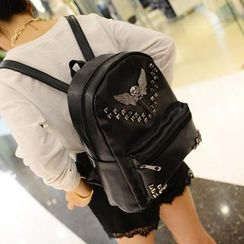 Miss Sweety - Skull Studded Faux-Leather Backpack