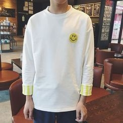 Soulcity - Smiley Applique Striped Long-Sleeve T-Shirt