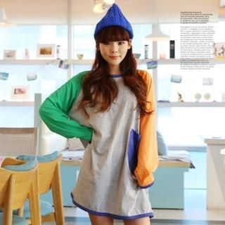 Cocopop - Color-Block Raglan Sleeve Long T-Shirt