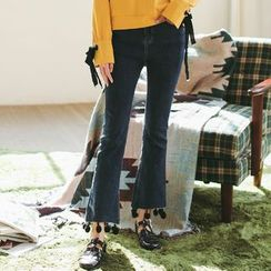 Sienne - Ball Trim Cropped Boot Cut Jeans