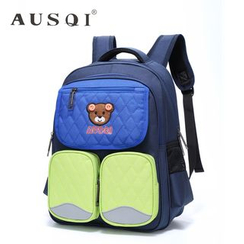Ausqi - Kids Color-Block Bear-Accent Argyle Backpack