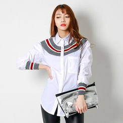 FASHION DIVA - Contrast Knit-Trim Shirt