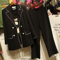 Elfina - Set: Tipped Double Breasted Blazer + Straight Cut Pants