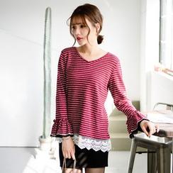 Tokyo Fashion - Long-Sleeve Striped Ruffled Top