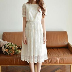 Dowisi - Short-Sleeve Lace Midi Dress