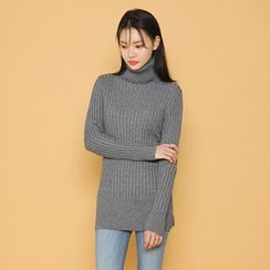Envy Look - Turtle-Neck Cable Long Sweater