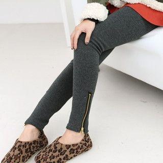 59 Seconds - Zip Detail Brushed-Fleece Leggings