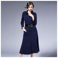 Elabo - 3/4-Sleeve Midi Shirtdress