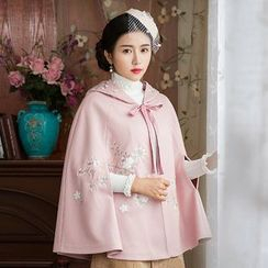 GU ZHI - Embroidered Hooded Lace-Up Cape Jacket