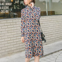 WITH IPUN - Floral Print Pleated A-Line Dress