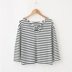 LEMONADE - 七分袖系带条纹T恤