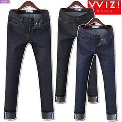 WIZIKOREA - Cuff-Detail Jeans