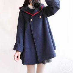 PANDAGO - Hooded Toggle Coat / Hooded Double-Breasted Coat