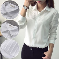 KAKAGA - Long-Sleeve Pleated Shirt