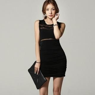 SARAH - Sleeveless Mesh Panel Bodycon Dress