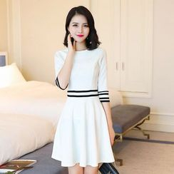 Emeline - Elbow-Sleeve Striped A-Line Dress