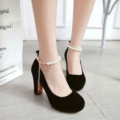 Gizmal Boots - 仿珍珠踝帶高跟鞋