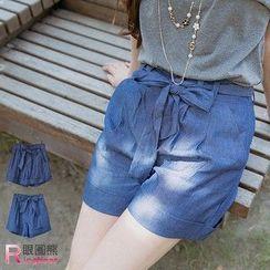RingBear - High Waist Shorts with Sash
