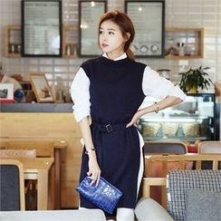 JVLLY - Sleeveless Slit-Side Knit Dress with Belt